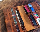 Weeksville Wallet, handmade travel wallet, 13 pocket travel organizer, document holder, oversized wallet with zip, handmade wallets by Aixa