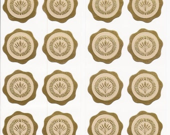 Wheat Wreath Seals Labels Stickers Embossed Gold Wheat Sheaf Shock Wedding Seals Set of 24 Seals