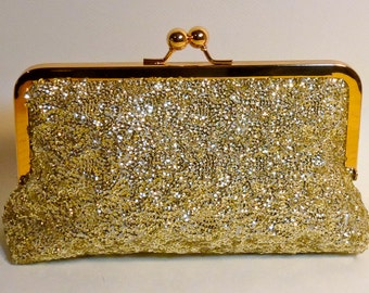 Bridal Clutch Gold Sequined Clutch Bridesmaid Holiday SALE