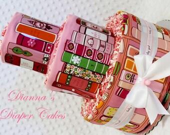 Baby Diaper Cake Book Shower Girls Pink Gift Centerpiece