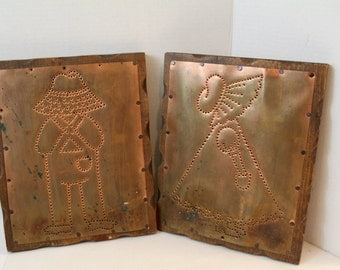 copper farm girl and boy handmade wall plaques decor punched tin