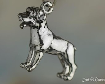 Sterling Silver Rottweiler Charm Rottie Dog Breed Owner 3D Solid .925