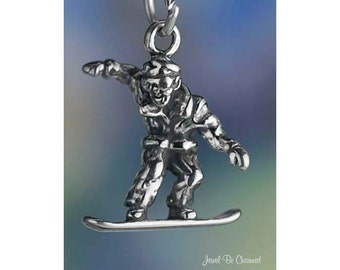 Sterling Silver Snowboarder Charm Snowboard Winter Sport 3D Solid .925