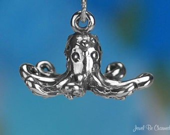Sterling Silver Octopus Charm Ocean or Aquarium Themes 3D Solid .925
