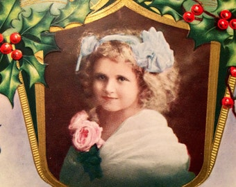 Victorian Christmas Postcard - Antique Photo of Girl with Holly Leaves and Berries