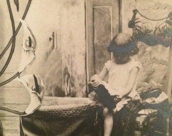French Postcard - Girl - Art Nouveau Border of Lilies - Paris
