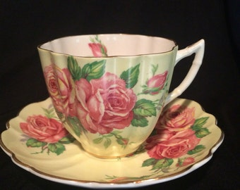 Old Rose Tea Cup and Saucer by Victoria , England - Teacup - Pink Roses with Yellow - Cottage Chic - Wedding Tea Cup