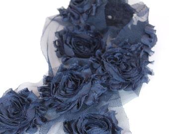 "Navy Blue Shabby Rose Trim - 2 1/2"" Shabby Flower Rose Trim - Chiffon Flowers - Rose Trim - Wholesale Shabby Flower Trim"