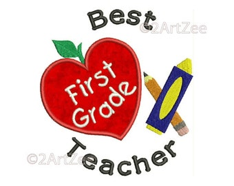 First Grade Teacher Best Teacher Machine Embroidery Applique Design Apple Crayon Pencil Heart