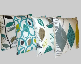 """ALL 4 Teal Blue Green Gray Pillow Cushion Covers Designer Throws Slips Accent, 16"""" (40cm)"""