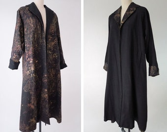 1950s Reversible Swing Coat / Black Evening Coat