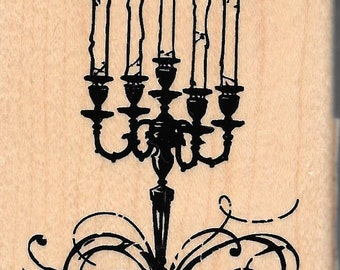 Candleabra Stamp  --  NEW  -- Wood Mounted Rubber Stamp --  Inkadinkado Brand --  Halloween Stamp (#1427)