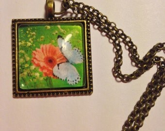 Hand Made Pendant  --  NEW  --  Butterfly on Flower Pendant  --  Handmade Necklace  --  One of a Kind  --  (#1572)