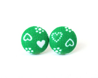 Valentine's day gift - Heart earrings - green button earrings - fabric stud earrings - tiny small earrings white love bright - birthday gift