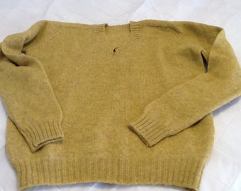 Vintage Mustard Yellow Woman's Wool Sweater Long Sleeved V-Neck