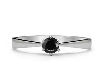 Black Diamond Ring - Black Diamond Engagement Ring - black engagement ring - Solitaire Black Diamond Ring