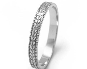Wheat Wedding Ring Vintage Style in 14k White Gold