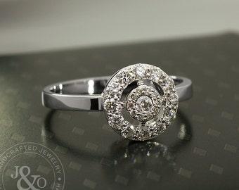 Diamond Cluster Engagement Ring in 18k White Gold