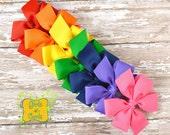 Pinwheel Hair Bow Rainbow Set