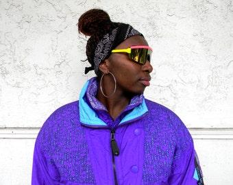 Vintage Ski Jacket - 90s Periwinkle Blue, Turquoise, and Black COLOR BLOCK Puffer Skiwear Jacket by Kaelin Ski - Tribal Print -Size Medium M