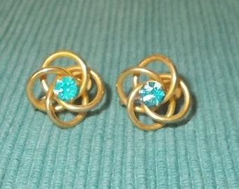 Vintage RETRO Brass Swirl Design with Aqua Blue Rhinestone Screw Back Earrings-Marked B.N.-FREE SHIPPING!