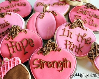 Breast Cancer Awareness Cookies, Breast Cancer Cookies, Breast Cancer - 1 Dozen