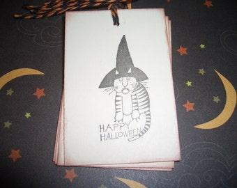 Marilyn Hafner Stripped Halloween Cat Gift Tag  Happy Halloween