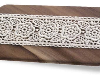 100% Organic Cotton Lace, Natural, Undyed, Sold by the Yard, 40mm