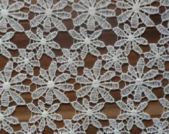 100% Organic Cotton Lace Fabric, Natural, Undyed Sold by the Yard, 810mm