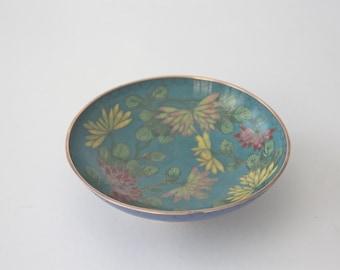 Round Vintage Floral Cloisonne Bowl, Dish