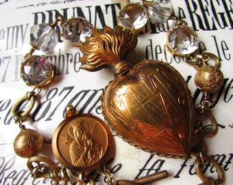Antique sacred heart reliquary French necklace ex voto engraved 1800s open back crystal one of a kind religious jewelry madonnaenchanted