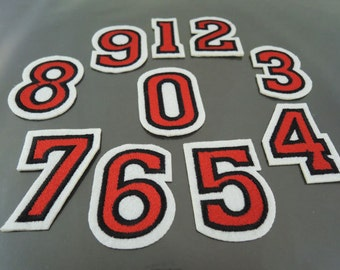 Number Patches - Iron on or Sewing on Patch 0-9 Number Patches Red Patch Embellishments