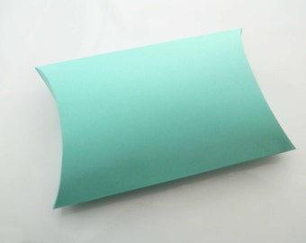 """Turquoise Pillow Boxes. Package of 3. Medium Boxes. 4 x 2 x 7/8"""" Aqua Wedding Favor, Party Favor. Baby Shower Boxes. Bridal Shower Boxes"""