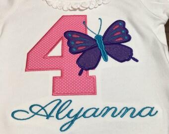 Personalized Shirt, Butterfly Applique Shirt,  Embroidered, Birthday shirt, First birthday shirt, Girls, Children's Clothing, kids shirt