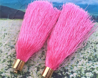 4pcs 85mm Gold Plated Metal cap--Dark Pink Silk tassel findings pendants