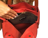 Leather Shopping tote bag minimal bag in corallo red,named IOS,  Made to order