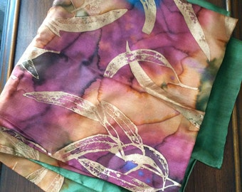 Vintage 80s 90s Di Teasdale Hand Painted Silk Scarf // Multi Color with Metallic Gold Flower Print // Artist Signed Designer Scarf
