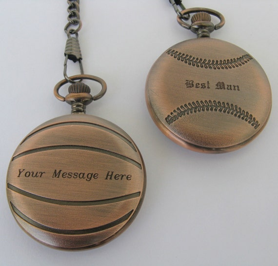 Baseball Wedding Gifts: Baseball Pocket Watch Wedding Gift For Him. Groom By
