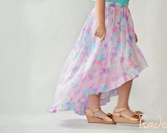 Girl's semi sheer linen watercolor hi low maxi skirt