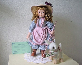 Mary and her little Lamb, Duck House Porcelain Doll, with certificate 850/5000. 18 inches tall.