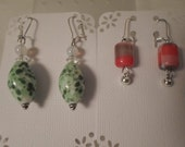 Vintage / GLASS EARRINGS / BOGO / 2-Fer / 2 Pair Set / Pierced / Dangles / Instant Collection / Lot / Green / Orange / Chic / Accessories