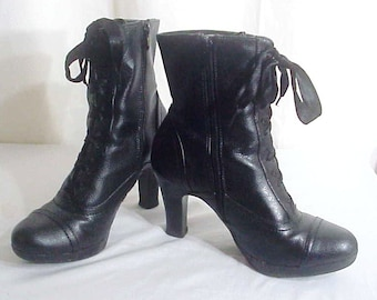 Steampunk Black Victorian Ankle Boots, Lace front, Side Zip, Sz. 7.5B