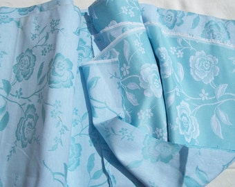 Vintage French Fabric Sky blue damask linen with silvery white Woven Roses