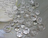 Mixed Lot of 35 Clear Glass Buttons