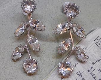 Signed KRAMER Clear Rhinestone Dangling Vine Earrings