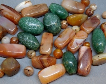Carved Stone Genuine Agate Loose Bead Lot