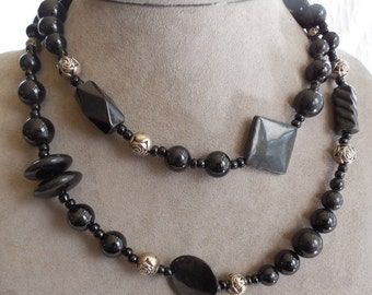 LONG Black Glass Bead Necklace