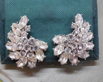 Crown TRIFARI Rhinestone Clip On  Earrings
