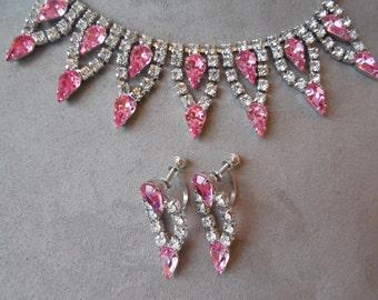 Vintage Pink Teardrop Rhinestone Choker Necklace  and Earrings Set