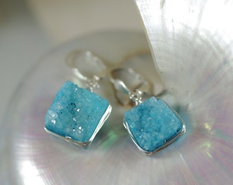 Aqua Blue Druzy Earrings - Sterling Silver Scallop Shell Leverback Earwires